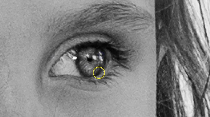 profondità occhio bianco e nero